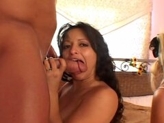 Hot big tits sluts toy pussy before group sex and cum swapping