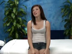 Cute 18 year old Aubrey seduced and fucked hard after her free massage!