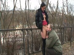 Brunette vixen gets fucked outdoors