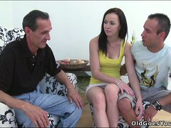 Naughty teen bimbo flirts with an old man she's about to bang