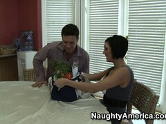 Naughty brunette Dylan Ryder gives him something besides veggies to eat