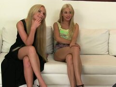 Two hot blonde babes getting naked for their agent
