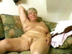 A giddy old granny finds her granddaughter's dildo and uses it in her old snatch