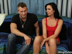 Hot girl in red dress Tiffany Brookes is seduced by cunt-smitten lecher