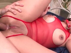 Anal sex slut in lingerie and collar