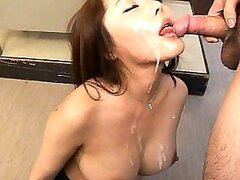 Mei Sawai Nude Asian babe is sucking two cocks gets gooey facial