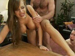 Hot Bisexual Babe fucks the man with strapon dildo