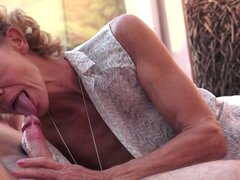 Granny is sucking this very tasty prick