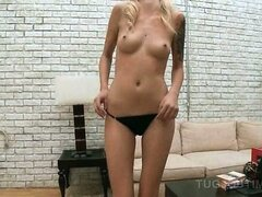 POV skinny blonde teen gives tugjob and flashes small assets