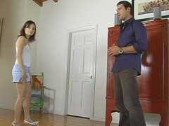 Cherry Haired Chick Rides Her Father's Customer