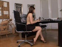 Lustful girl has office toying her ass