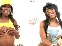 Two horny ebony booty girls take white big cock...