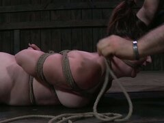 Voluptuous brunette whore gets her chubby body tied up with rope