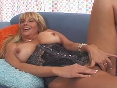 Blonde MILF with huge boobs gets fucked in hairy pussy