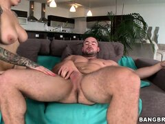 Amazing tattooed high flyer eat the big prick and licks the balls