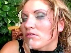 Oiled blond milf Laura Orsoia gets fucked deep and hard