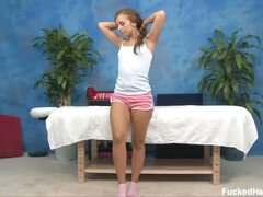 Sophia seduced and fucked hard by her massage therapist