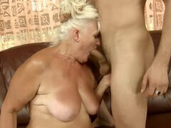 Blonde granny Judi sucks a dick and enjoys multiposition sex