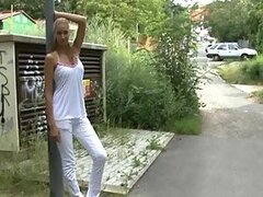 Smoking Hot Blonde Amateur Euro Babe Sucking Cock Outdoors In POV Vid