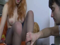 Babe in stockings has hot foot fetish