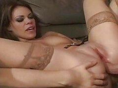 Flexible brunette in stockings gets her ass rammed hard