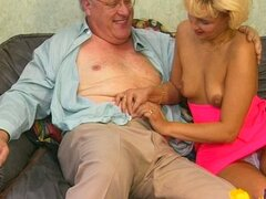 Cute blonde girl sucks old guy's cock and fucks him