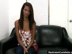Hot ebony with great tits get nailed by a white cock at audition.