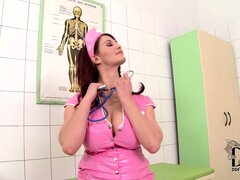 The busty nurse strips off her pink latex uniform...