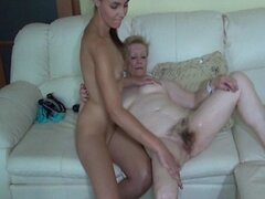 Old mature and young lesbian dildo