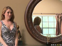 The gorgeous blonde invites a sexy brunette to her house to fulfill her desires