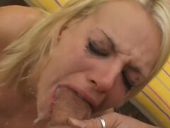 Horny Blonde Cock Sucker Giving a Great Deepthroat