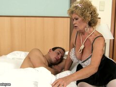 The hairy goddess is a naughty blonde granny with a mountain of fur on her twat