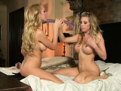Double dildo keeps two blond lesbian with hot bodies happy and satisfied