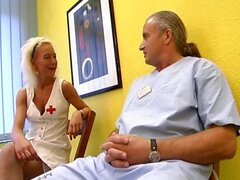 Hot blonde nurse gets it on with an old dirty doctor on the floor