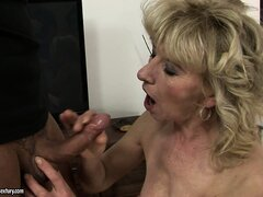 Blonde grandma blows his boner and gets her trimmed pussy toyed