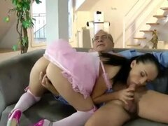 Lucky older guy pulls stockings hottie and gets a blowjob from her hot mouth