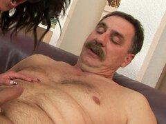 Pretty and sexy Connie gets fucked by old man with mustache
