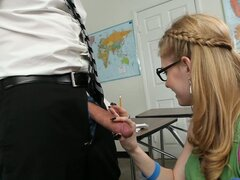 Mature teacher makes Allie James touch and blow his dick