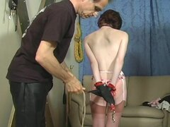 Teen stripped and suffering BDSM pain