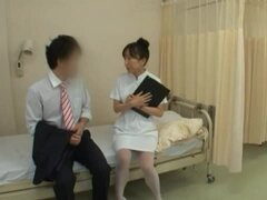 Helpful Japanese nurse gives a handjob and takes a ride on the dick
