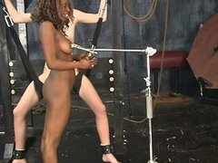 Ebony and ivory slaves get pussy checked with sharp tools in dungeon
