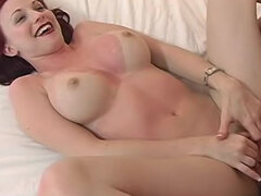 Fake tits redhead in red lipstick banged