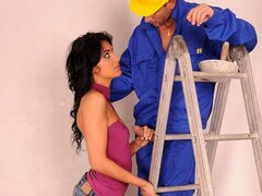 A lonely and very lovely housewife takes advantage of the maintenance guy and rides him