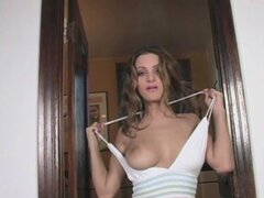 Sexy young Andie Valentino slowly strips out of her sexy attire