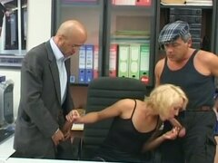 Blonde milf secretary gets double cock fun
