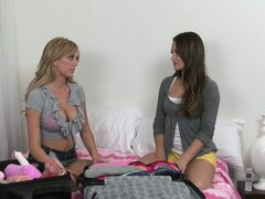 Young brunette babe is invited for a hot demonstration of lesbian sex toys