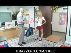 Cute & playful blonde schoolgirl fucks her teacher...