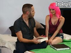 Pink haired punk girl Moretta Cox banged