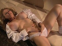 Sensual Blonde MILF Dyanna Lauren Fingers Her Wet Pussy In Her Panties