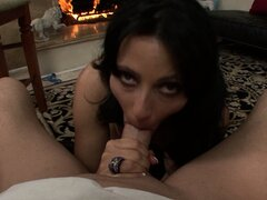 The wild cougar�Zoey works her magic on that big shaft making it cum in her mouth